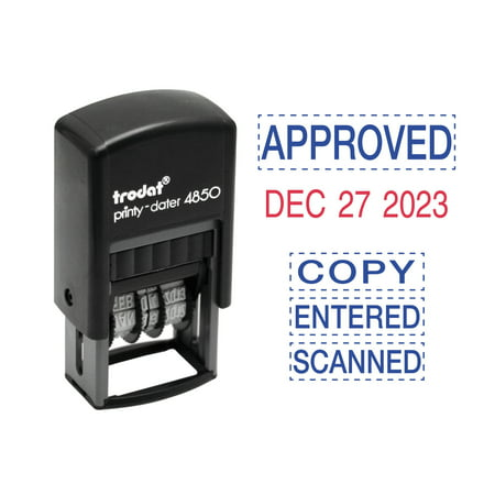 Trodat Economy 5-in-1 Micro Date Stamp, Self-Inking, 3/4 x 1, Blue/Red (Dymo Date Time Stamp)