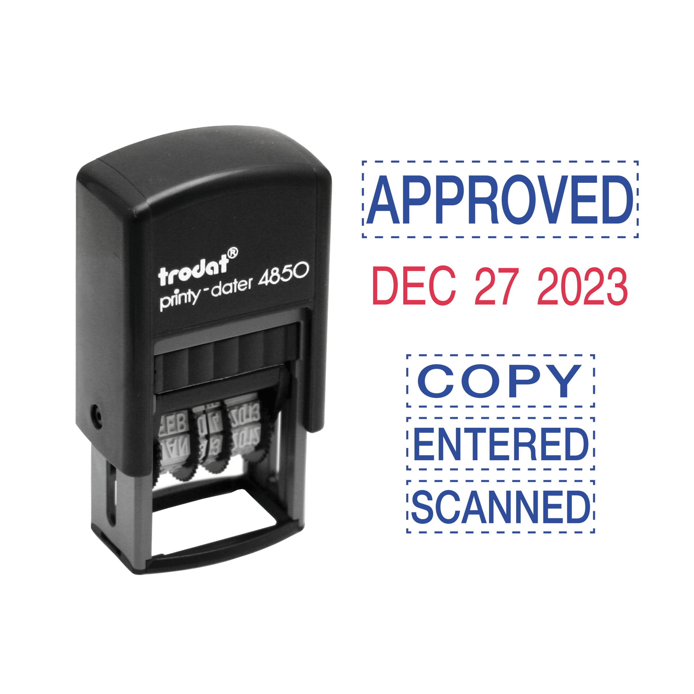 Trodat Economy 5-in-1 Micro Date Stamp, Self-Inking, 3/4 x 1, Blue/Red -USSE4853L