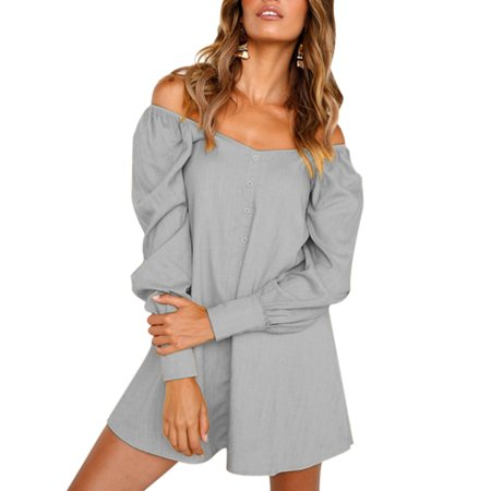 e187b3d2dc78 HIMONE - Off Shoulder Dress for Women Fashion Slash Neck Long Sleeve Casual  Loose Evening Cocktail Beach Short Mini Dresses - Walmart.com