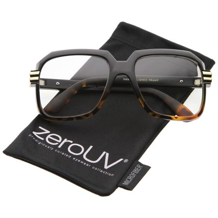 zeroUV - Large Chunky Metal Accented Temples Clear Lens Square Glasses 55mm - 55mm Stand out from the crowd in these chunky square glasses featuring an oversize square frame in neutral colors and clear lenses for everyday wear. Complete with metal accented temples, these eyeglasses are sure to make a statement. An iconic design that has been worn by many celebrities including the hip hop legend Hip Hop, these glasses are the epitome of cool. Made with a plastic based frame, metal hinges, and polycarbonate UV400 clear lenses.