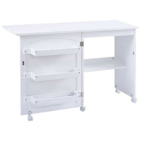 Costway Folding Swing Craft Table Shelves Storage Cabinet Home W/ Wheels - image 8 of 10