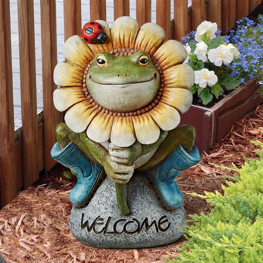 Flowery Frog Garden Welcome Statue