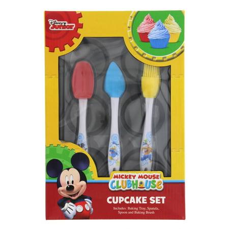 Kids Disney Jr Mickey Mouse Clubhouse Bakeware, 4-Pc. Cupcake Set w/ Supplies: Baking Tray, Spatula, Spoon, Baking