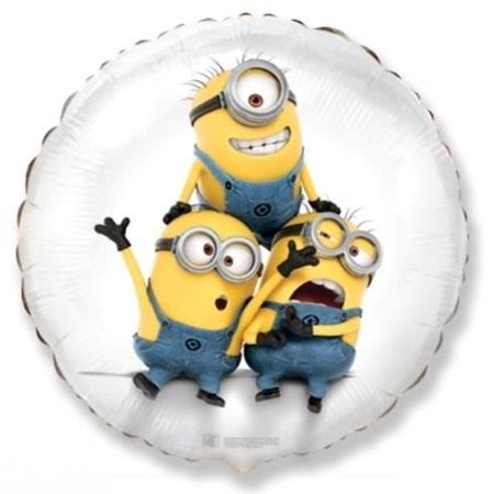 1 BALLOON new DESPICABLE ME minions WHITE round FOIL birthday PARTY favors GIFT use W/ AIR or HELIUM VHTF, FOIL balloon can be used with helium or air ~ By FM](Helium Near Me)
