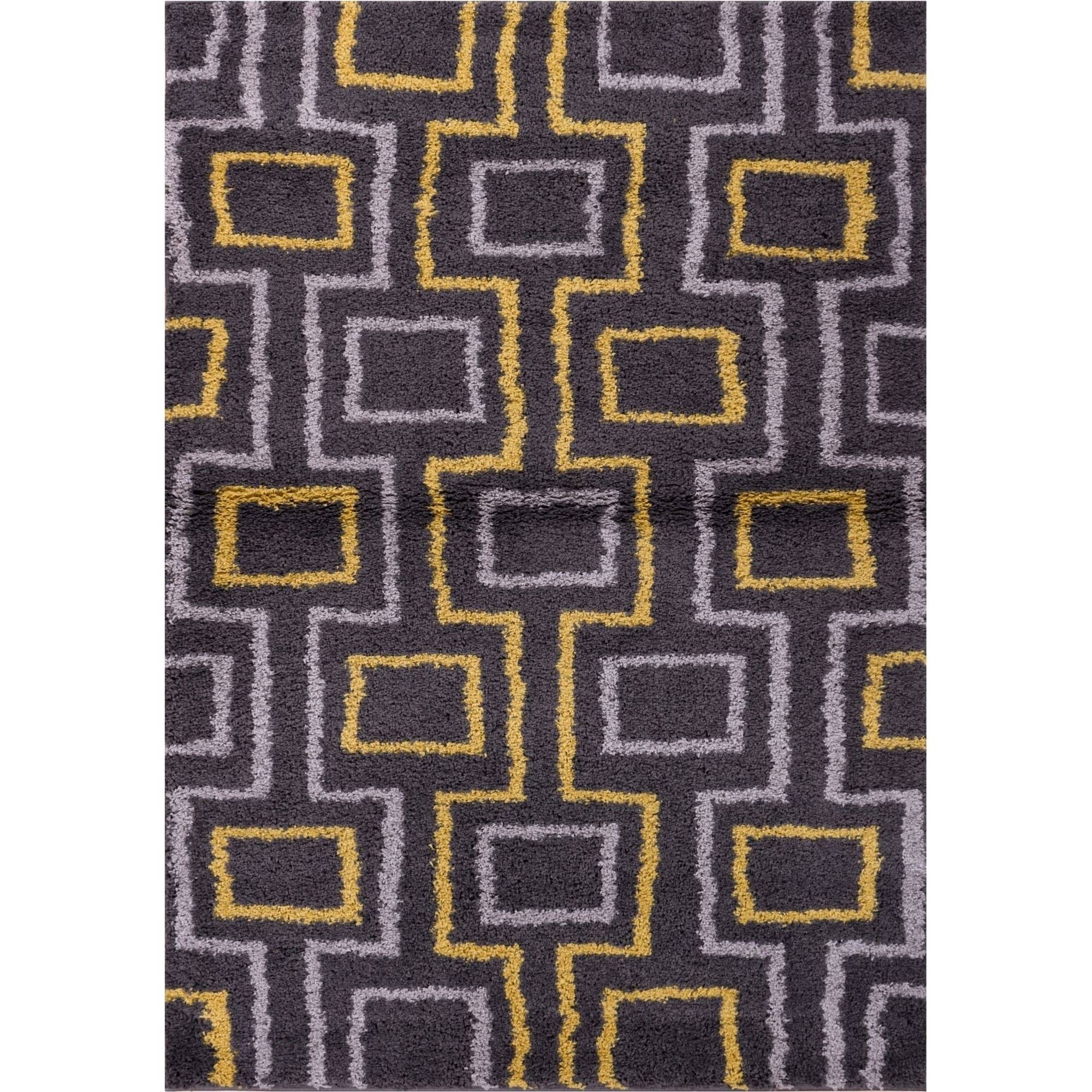 Well Woven Madison Shag Prism Place Modern Area Rug, Grey Gold