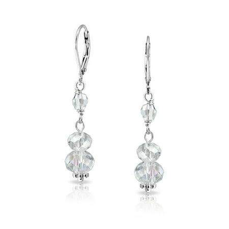 Long Linear Crystal Rondelle Drop Leverback Dangle Earrings 925 Sterling Silver Long Linear Earrings