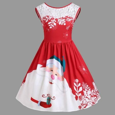 Mosunx Fashion Women O-Neck Merry Christmas Lace Insert Santa Claus Print Party - Santa Claus Dress For Babies