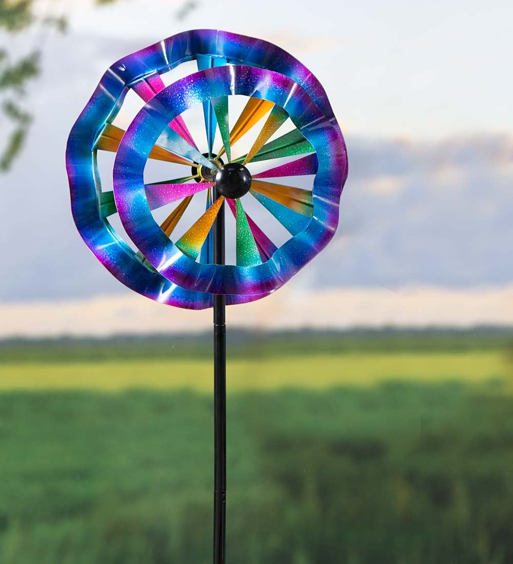 Colorful Ruffled Garden Wind Spinners by Wind Spinners