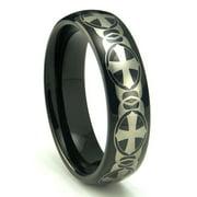 Titanium Kay Black Tungsten Laser Engraved Celtic Cross Dome Comfort Fit Mens Wedding Band Ring Sz 10.0
