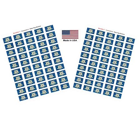 "Made in USA! 100 Connecticut 1.5"" x 1"" Self Adhesive State Flag Stickers, Two Sheets of 50, 100 Connecticut Sticker Flags Total"