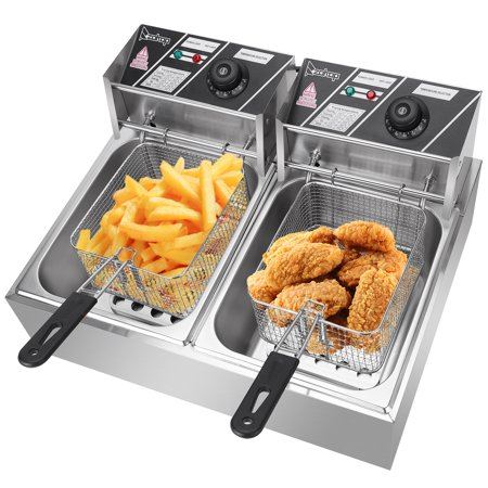 Electric Deep Fryer, 12L 5000W Deep Fryer with Basket, Stainless Steel Double Cylinder Oil Fryer Cooking Equipment, Home/Commercial Kitchen Countertop French Fryer, for Restaurants, Cafes, W5196