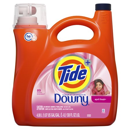 Tide Liquid Laundry Detergent with a Touch of Downy, April Fresh, 89 Loads 138 fl oz - Roll Tide Colors