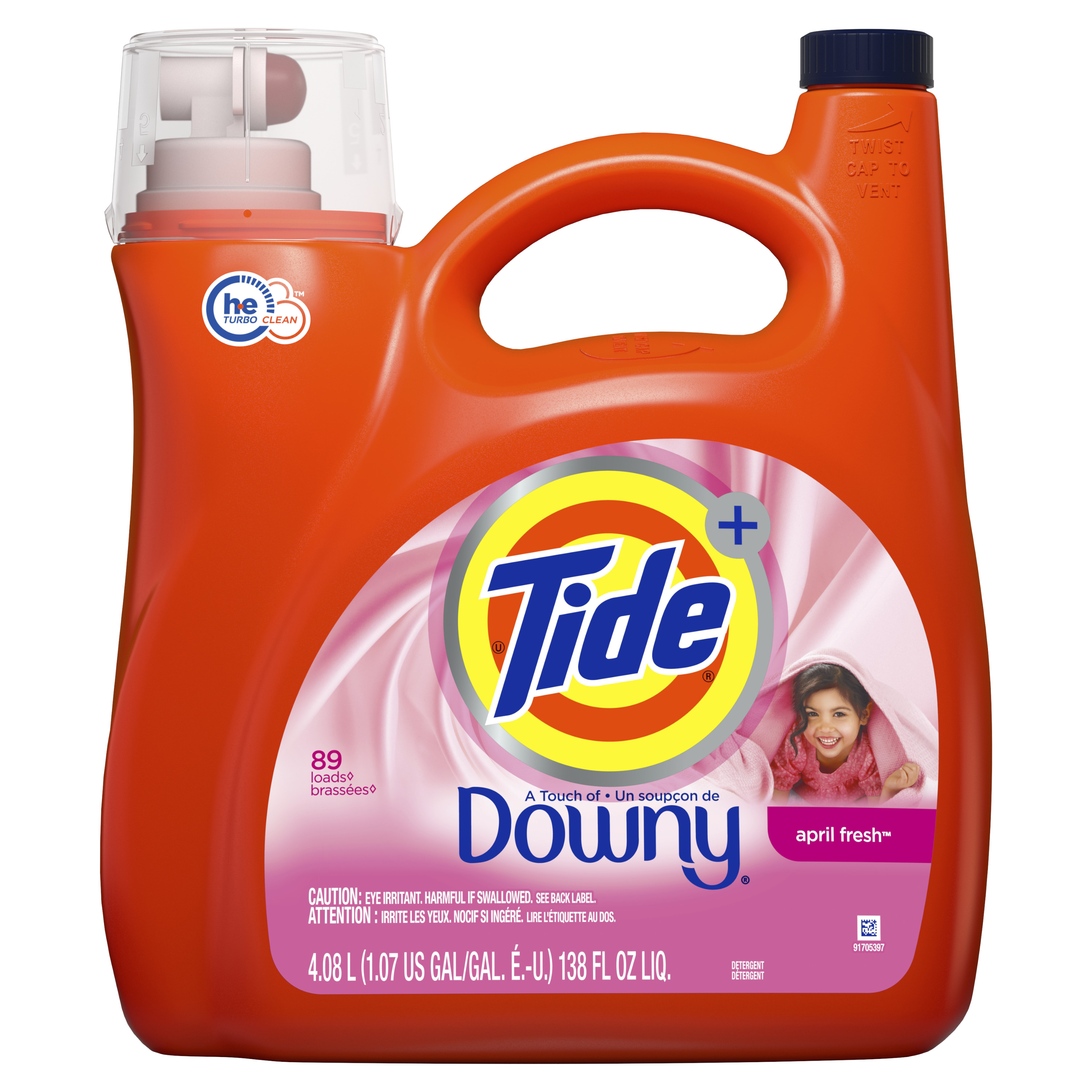 Tide Liquid Laundry Detergent with a Touch of Downy, April Fresh, 89 Loads 138 fl oz