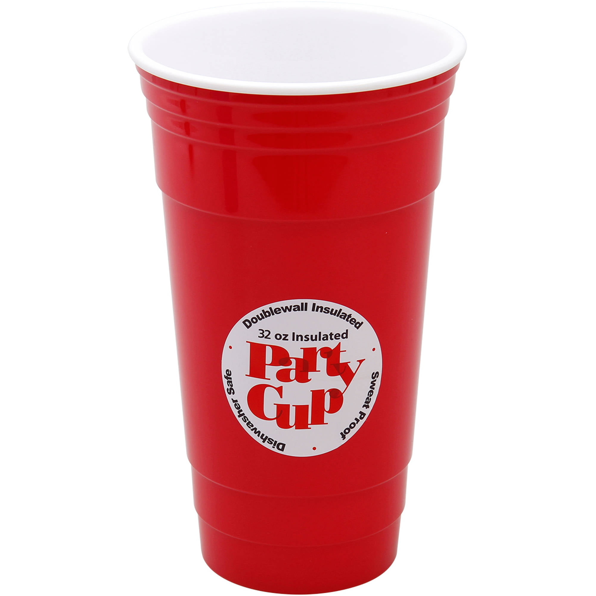 32 Oz Red Double Wall Insulated Party Cup Walmart Com