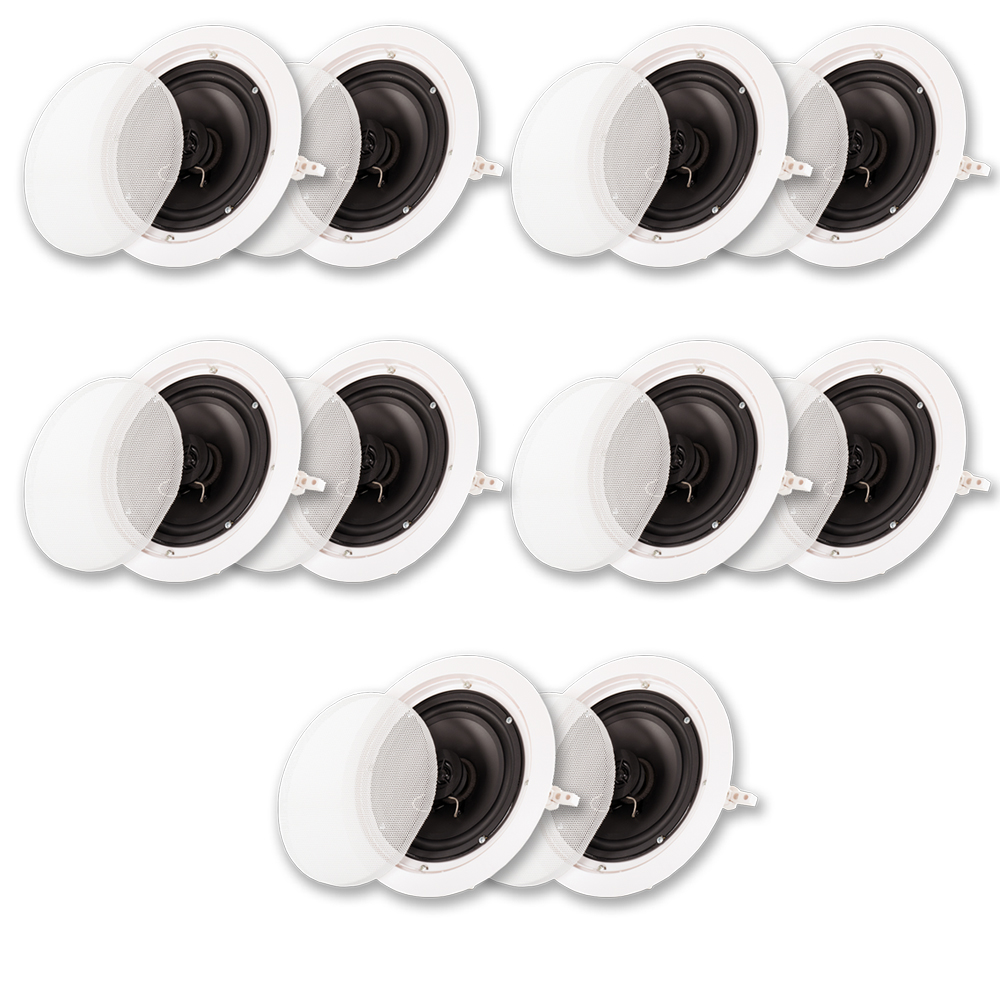 "Acoustic Audio HTI6c In Ceiling 6.5"" Speaker 5 Pair Pack 2 Way Home Theater 2500W HTI6c-5PR"