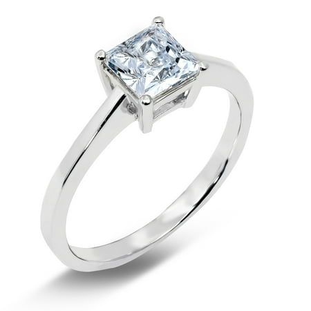 14K Solid White Gold 1 Ct. Princess cut Solitaire CZ Engagement Ring
