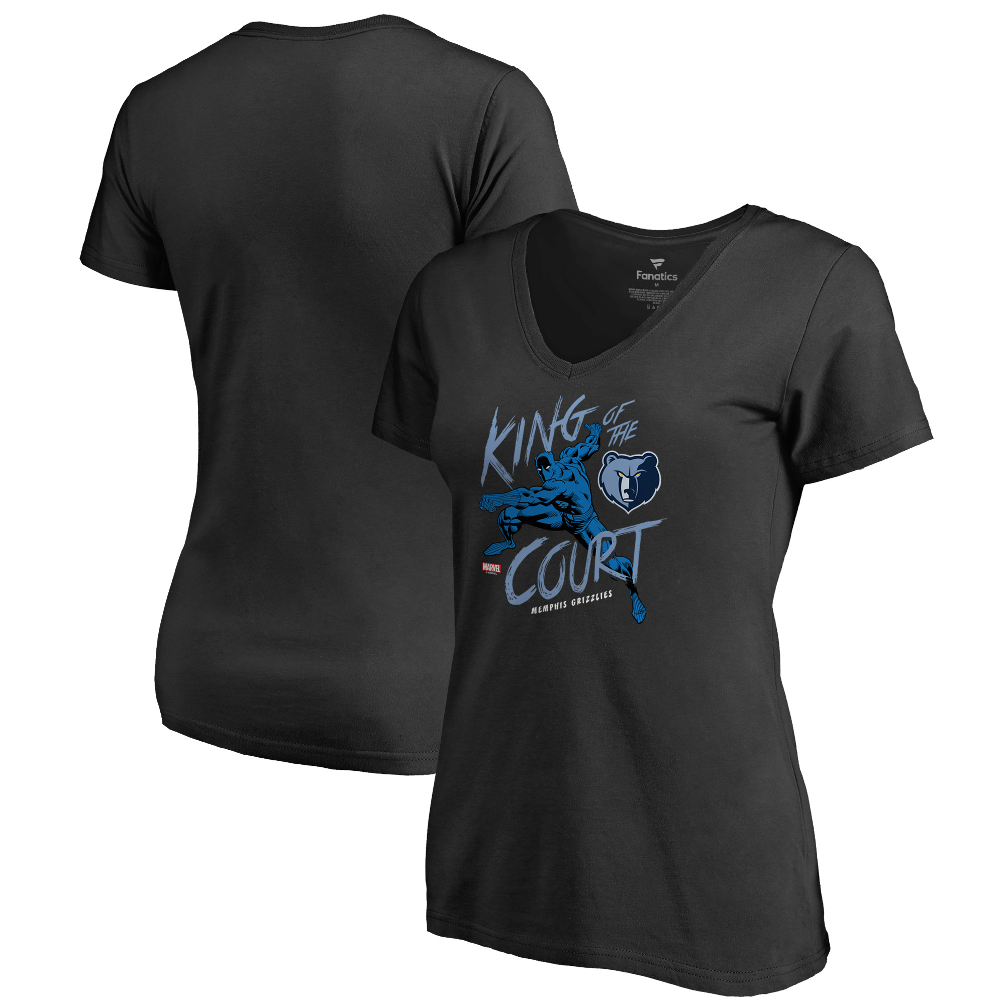 Memphis Grizzlies Fanatics Branded Women's Marvel Black Panther King of the Court V-Neck T-Shirt - Black