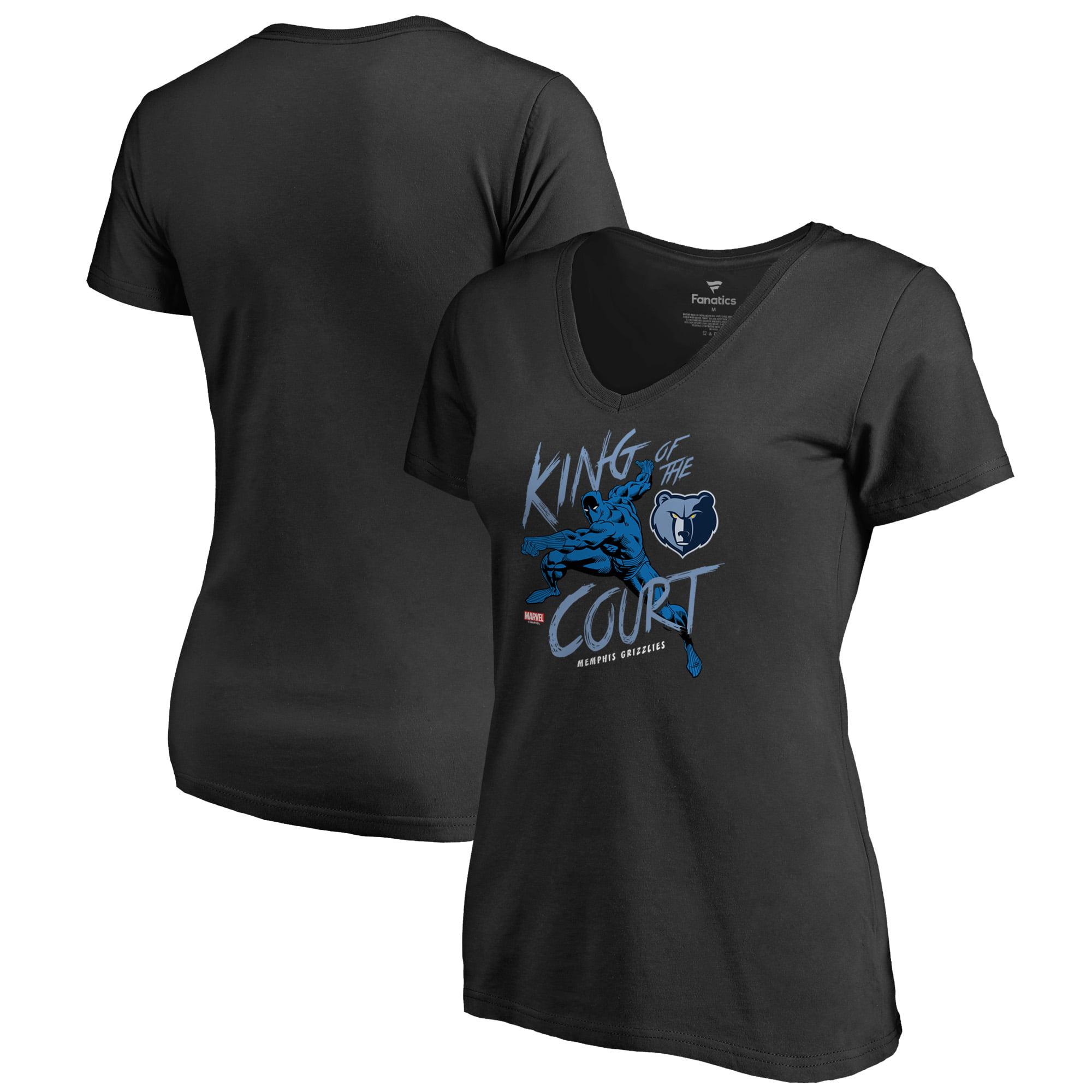 Memphis Grizzlies Fanatics Branded Women's Marvel Black Panther King of the Court V-Neck T-Shirt - Black