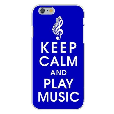 Apple iPhone 6+ (Plus) Custom Case White Plastic Snap On - Keep Calm and Play Music w/ Treble Clef & Notes