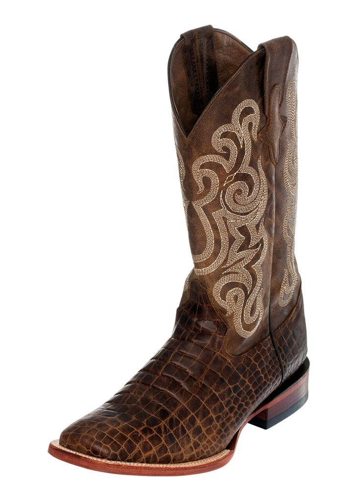 Ferrini Western Boots Mens Caiman Print Square Toe Brown 42493-10 by Ferrini