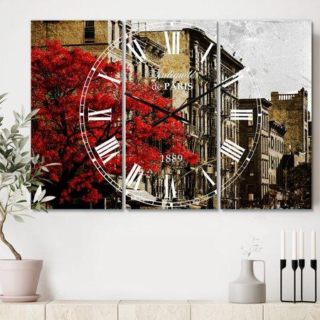 - DESIGN ART Designart 'Red Tree on Black and White New York City Street' Cottage 3 Panels Large Wall CLock