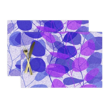 Image of Cloth Placemats Blue Violet Leaves Branches Floral Azure Fall Set of 2