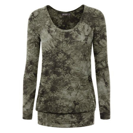 MBJ WT1164 Womens Tie-Dye Long Sleeve Front and Back Shirring Raglan Top XL OLIVE