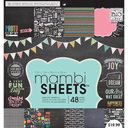 Me & My Big Ideas MAMBI Paper Pad, 12-Inch by 12-Inch, Chalkboard Doodle, 48-Pack Multi-Colored