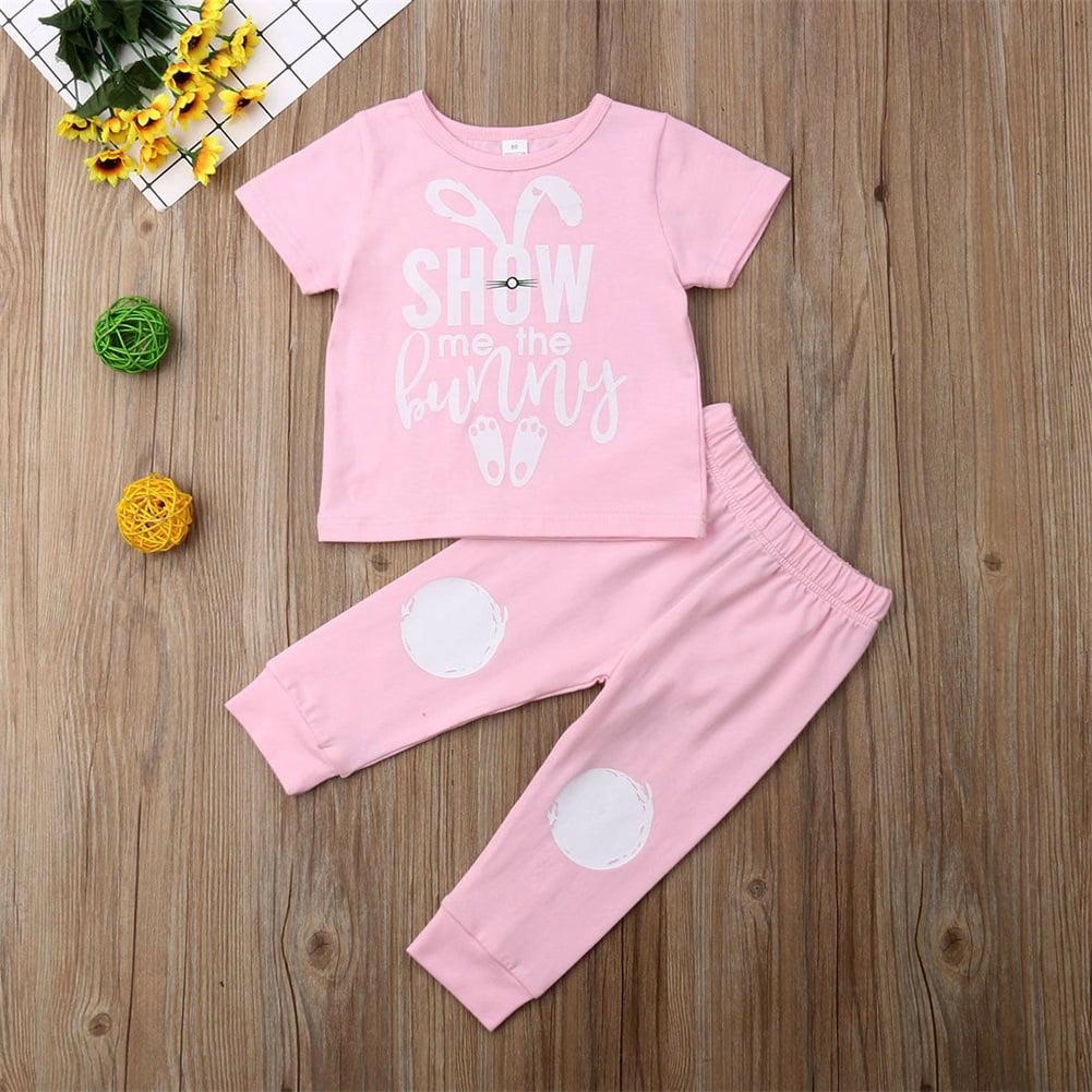 EE/_ EG/_ 3Pcs Baby Girls Short Sleeve Floral T-shirt Skirt Headband Summer Dress