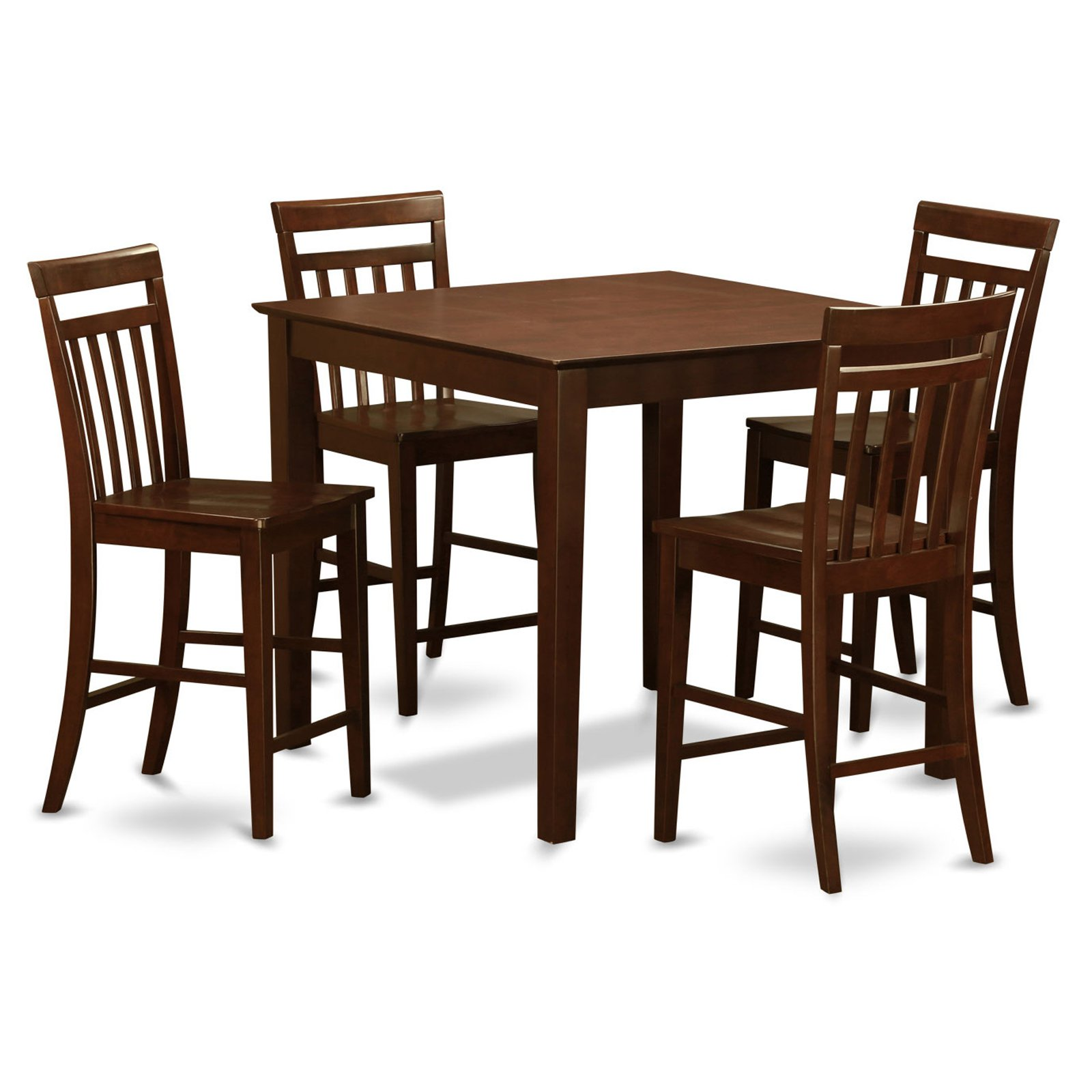 East West Furniture East West 5 Piece Thin Slat Back Dining Table Set