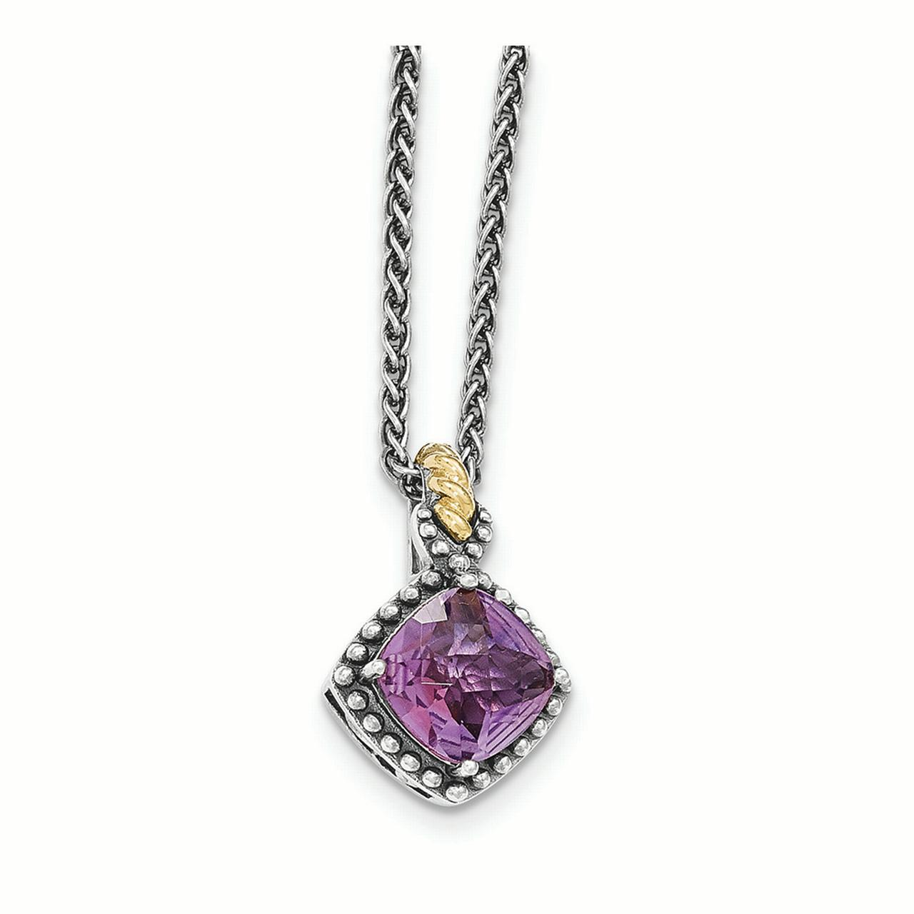 Sterling Silver w 14ky Amethyst Cushion Necklace by Kevin Jewelers