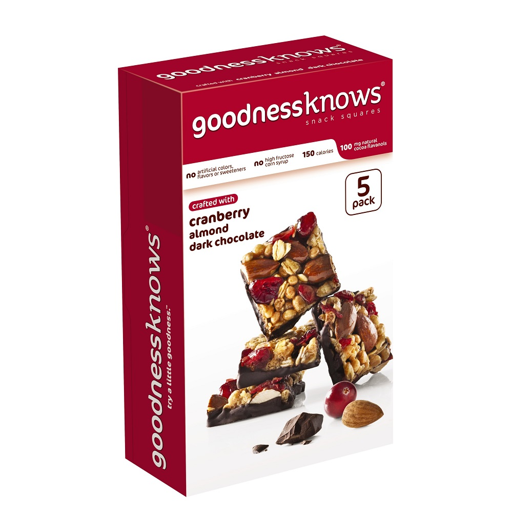 goodnessknows Cranberry, Almond and Dark Chocolate Snack Squares, 5 Pack