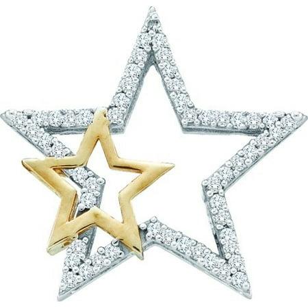 10K White Gold Two Tone 0.15CT Shared Prong Round Cut Diamond Star (Two Tone Diamond Star)