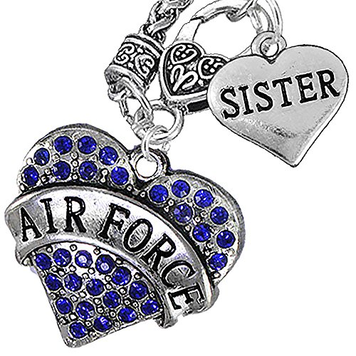 Air Force Sister Heart Necklace, Hypoallergenic, WILL NOT IRRITATE Anyone With Sensitive Skin. Safe- Nickel, Lead and Cadmium Free