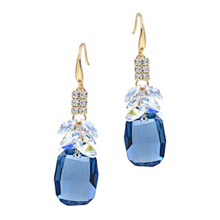 Tone Cluster Earrings (Swarovski Crystal Element Gold Tone Sapphire Blue Colored Cluster Fish Hook Dangle Earrings)