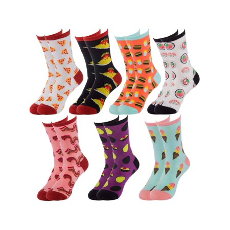 Sock Lab (7 Pairs) Women's Junk Food Print Crew Socks In Giftable Box Ladies Novelty Colored Fun