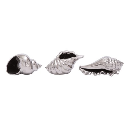 Decmode set of 3 coastal 6, 7, and 8 inch ceramic sea shell sculptures beach décor, silver