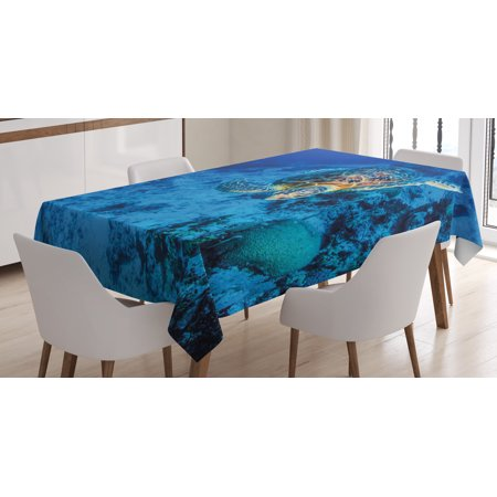 Turtle Tablecloth, Oceanic Wildlife Themed Photo of Sea Turtle in Deep Blue Waters Coral Reef Hawaiian, Rectangular Table Cover for Dining Room Kitchen, 52 X 70 Inches, Blue Orange, by Ambesonne