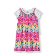 Girls' Rainbow Lace Trim Slip Dress with T-Shirt 2-Piece Set