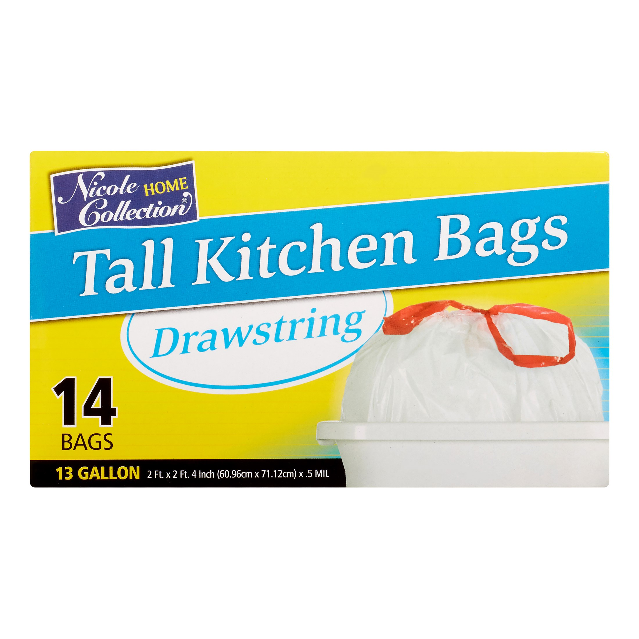 Nicole Home Collection Tall Kitchen Drawstring Trash Bags, 13 Gallon, White, 14 Ct