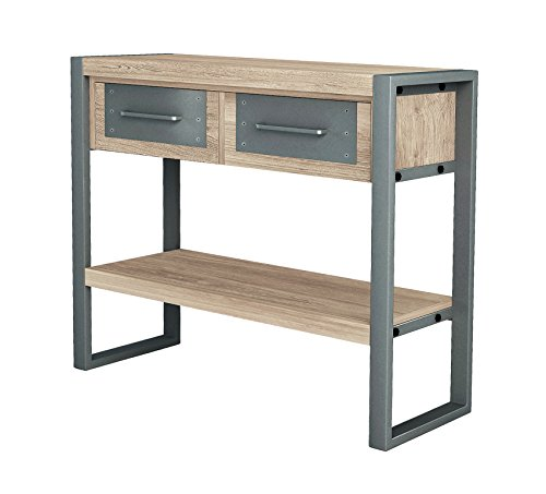ASTA Teak and Iron Storage Console Table - Industrial Modern, TI-503
