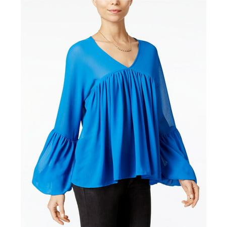 Fair Child Women Pleated Bell Long Sleeve Blouse BLUE Size Medium ()