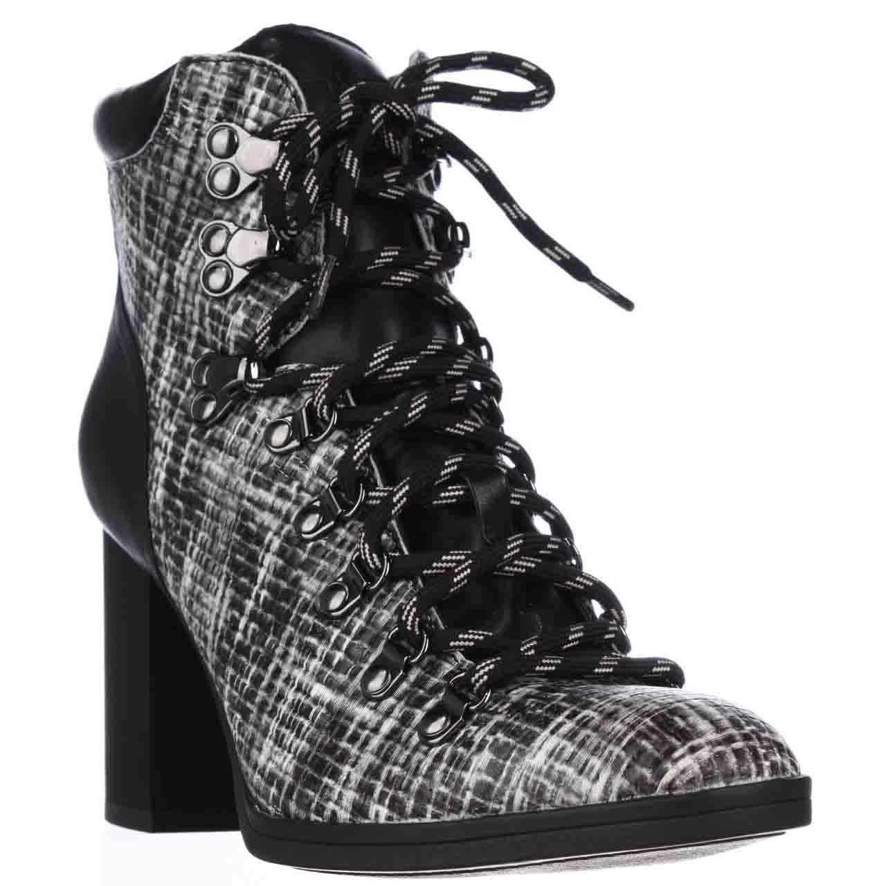 Womens Calvin Klein EveeLace Up Casual Heeled Boots - Black/Black