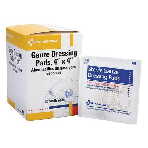 FIRST AID ONLY J213GR Gauze Pad,Sterile,White,4 in.W,PK50 G1825979