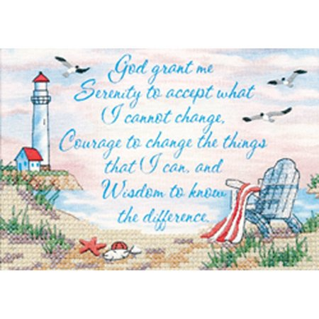 Stamped Cross Stitch, Serenity Prayer, Printed white sailcloth By Dimensions Needlecrafts (Cross Stitch Printed)