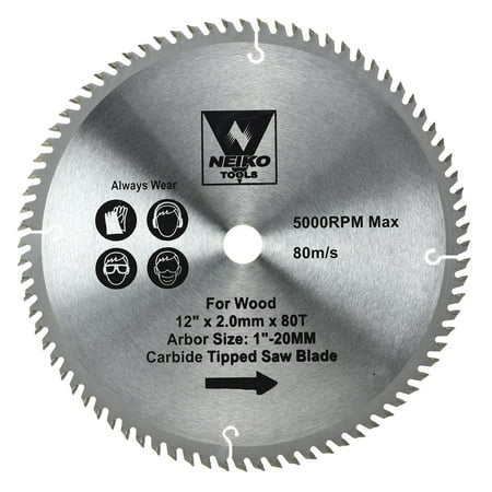 Neiko 10768A 12-Inch Carbide Tipped Miter Saw Blade | 80 Tooth Carbide Tooth Thin Kerf Wood