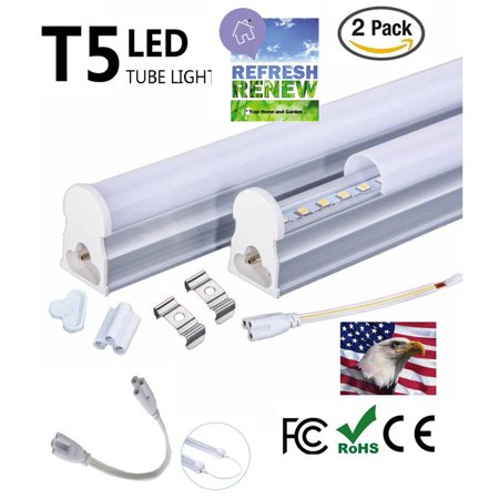 iLett 2 Pack 18 Watts of T5 LED Ceiling Light Fixture, 4 Feet, 1440lm, 6000K (Cool White),CE ROHs,