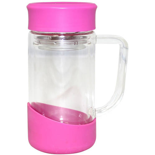 Gourmet Home Products 13.5 Oz Double Wall Borosilicate Glass Mug with Stainless Steel Strainer and Silicone Bottom