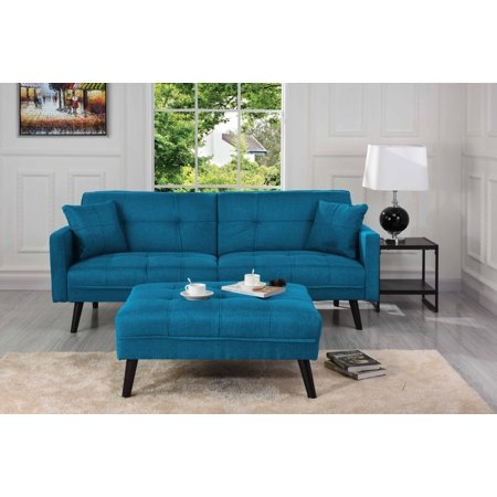 Mid Century Modern Linen Fabric Futon Sofa Bed Living Room