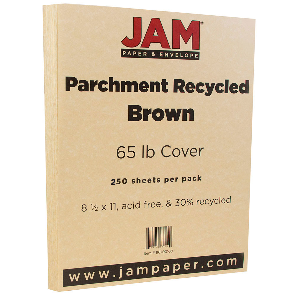 JAM Paper Parchment Cardstock, 8.5 x 11, 65 lb Antique Gold, 250 Sheets/Pack
